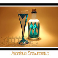 Valentinus Snowheartus- Hand Painted Bottle with glass, Port Bottle, Upcycled bottle, Hand Decored, Upcycled bottle