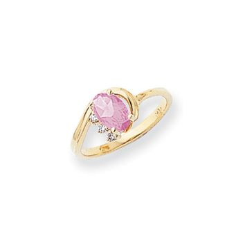 0.03 Ct  14k Yellow Gold 7x5mm Oval Pink Sapphire Diamond Ring SI2/SI3 Clarity and G/I Color