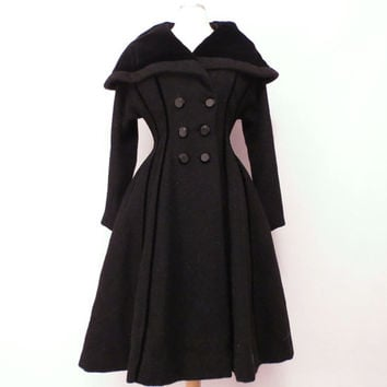 Vintage Lilli Ann Coat Fit and Flair Coat Princess Double Breasted Gored Wool Coat Black with Velvet Trim Shawl Collar Portrait Collar S