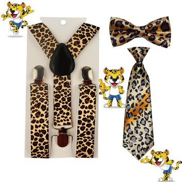 3PCS new High Quality Kid Suspender Bowties Bow Ties Matching Colors Boys Suspender Adjustable Accessories 1-8 Year YHHtr0004