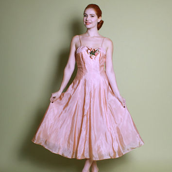 50s SHIMMER Prom DRESS / NOS Emma Domb Pale Pink Gown, s