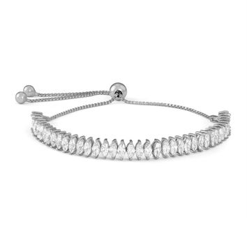 Gioelli Sterling Silver Marquise-cut Cubic Zirconia Adjustable Bracelet - 18630445 - Overstock - Top Rated Gioelli Designs Cubic Zirconia Bracelets - Mobile