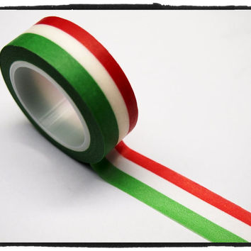 Stripe Washi Tape Full Roll 15mm WT264 - flag of Italy green, white, red