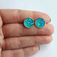 Aqua Blue Faux Druzy Earrings