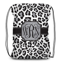 Drawstring backpack, tote - Leopard - White