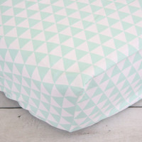 Navy and Mint Arrow Baby Bedding | Navy and Mint Crib Sheets