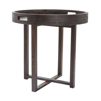 Large Round Black Teak Side Table Tray Brown