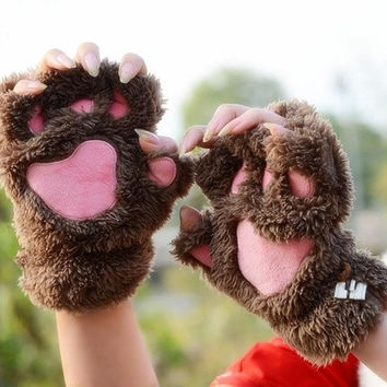Lovely fingerless gloves Thickening fluffy bear's-paw gloves lovers gift Hot Sale [8833468492]