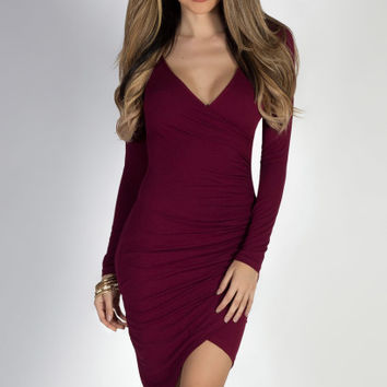 My Everything Burgundy Long Sleeve Bodycon Wrap Dress