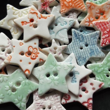 Porcelain Ceramic Star Buttons