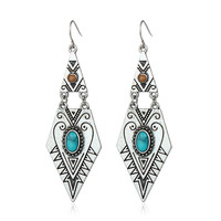 Tibetan Earrings Women 2017 Hot Sell Antique Gold Silver Plated Geometric Carved Blue Turquoise Earrings Big Dangling Earrings