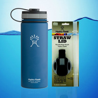 Hydro Flask 18 Oz Wide Mouth Insulated Water Bottle Blue + Straw Lid