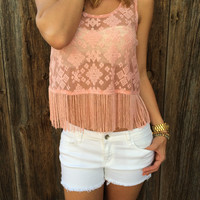 Aztec Embroidered Fringe Top - FINAL SALE
