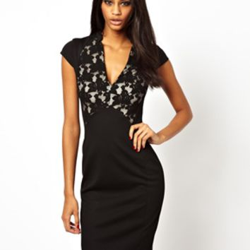 ASOS Pencil Dress With Lace Panel Plunge Neck