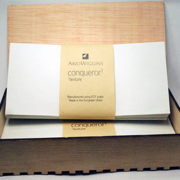 stationery, wood box personalized, 25 sets conqueror envelopes-letterheads, gift wedding anniversary all occasions