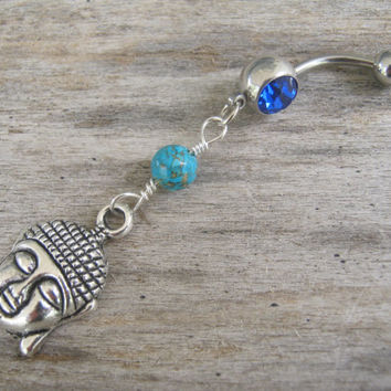 Turquoise Buddha Belly Ring, Belly Button Ring, Personalized Birthstone Piercing, Buddhist Yoga Body Jewelry, Buddha Navel Ring, Silver