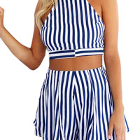 Navy Blue and White Stripe Shorts Co-ord Sets