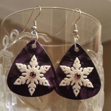 Guitar Pick Jewelry by Betsy's Jewelry - Earrings - Snowflakes - Winter - Christmas Jewelry - Purple Lover - Snow