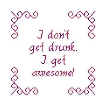 Funny cross stitch sampler in lovely pinks. Contemporary cross stitch pattern.