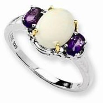 Sterling Silver & 14k Yellow Gold Opal & Amethyst Ring