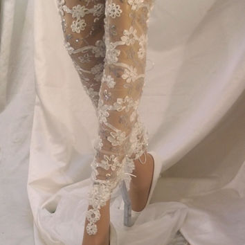 Leg Accessory, Leg Wear, Bridal Tights, Thigh High Tights, Bridal Clothes, Sexy Hoisery, Sexy Tights, Lace Leg Warmers, Bride Fashions