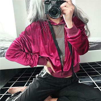 DCKL73 Hoodies Tops Winter Thicken Sexy V-neck Hollow Out Patchwork Lace Velvet Christmas Hats [73856450575]
