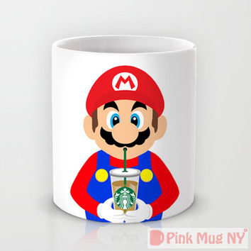 Personalized mug cup designed PinkMugNY - I love Starbucks - Super Mario