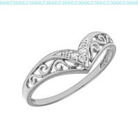 10K White Gold Diamond Chevron Ring (Size 4.5)