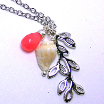 Silver leaf branch seashell and pink chalcedony necklace