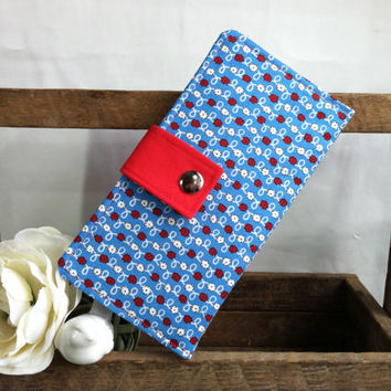 Little white floral and blue with red background folded womens wallet, coin pouch, card slots