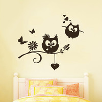 Wall Decals Owl on Branch Childrens Decor Kids Vinyl Sticker Wall Decal Nursery Baby Room Bedroom Murals Playroom - Owl Decor SV6004