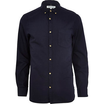 River Island MensNavy long sleeve Oxford shirt