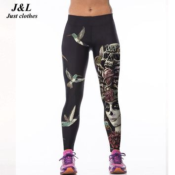 J&L  3D Print Sporting Leggings Women Skull Girl Birds Printed Fitness Leggings 22 Styles Workout Clothes For Women