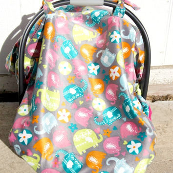 Fitted car seat canopy with elastic edge, Car seat cover, Baby carrier canopy, Baby carrier cover, Pink car seat canopy