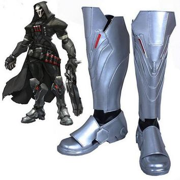 OW Reaper Video Game Cosplay Boots Shoes Men Cosplay Costume Party Shoes Custom Made B