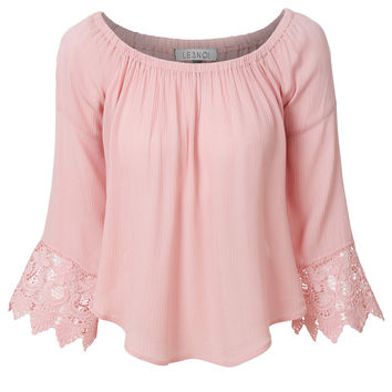 LE3NO Womens Lightweight Flowy Off Shoulder 3/4 Bell Sleeve Blouse Crop Top