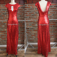 Red Sequins Formal Dress,Sequin Wedding Bridal Dress,Evening Prom Ball Gown,Stunning Party Dress,Formal Occasion Dinner Music Concert Dress