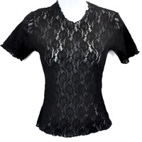 Vintage Black Lace Shirt Top XS S