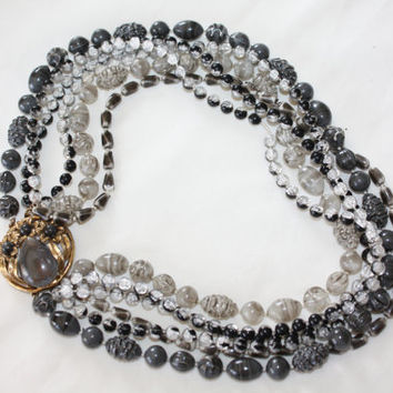 Vintage Selro Selini Necklace, Gray White Bead Jewelry, Torsade 6 Strand 1950s Wedding Bridal Jewellry