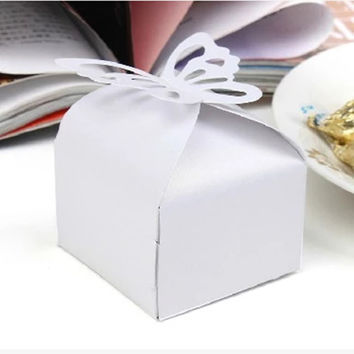 10PCS White Butterfly Laser Cut Candy Gift Boxes Butterfly Wedding Box Wedding Party Favor Box Free Shipping N306-3