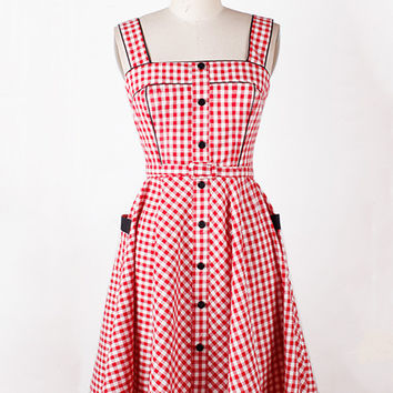 Red Plaid Sleeveless Buttoned Pleated Dress
