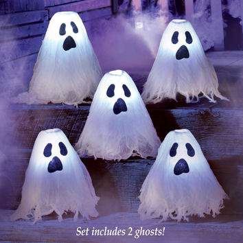 LED Lighted Halloween Ghosts - Set of 2