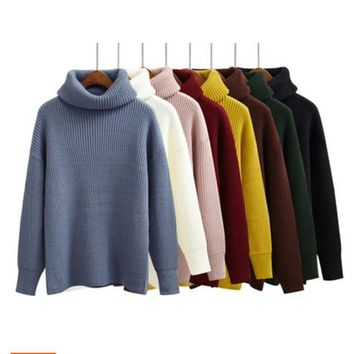 Autumn Women Sweaters and Pullovers Harajuku Kawaii clothes winter korean pullover trend turtlene knitted sweater women