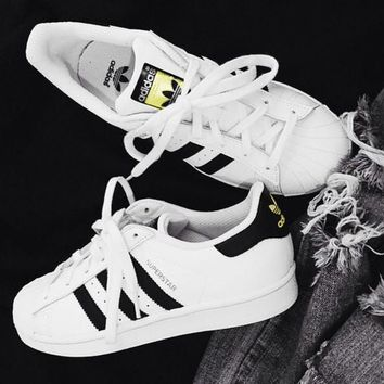 AdidasSuperstar Fashion Shell-toe Flats Sneakers Sport Shoes White-gold