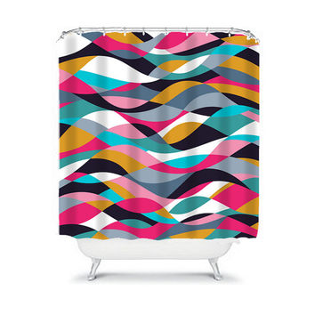 Geometric Shower Curtain Modern Wave Stripes Shapes Lines Monogram Colorful Pattern College Bathroom Bath Polyester Made in the USA