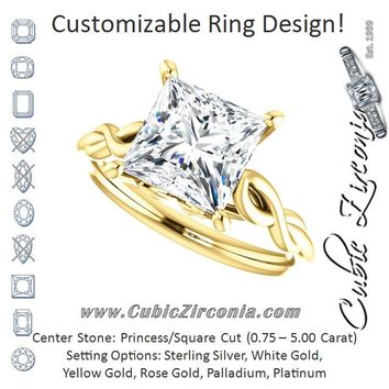 Cubic Zirconia Engagement Ring- The Diamond (Customizable Princess/Square Cut Solitaire with Braided Infinity-inspired Band and Fancy Basket)