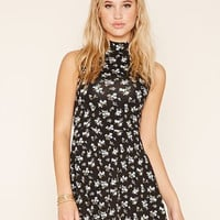Mock Neck Floral Skater Dress