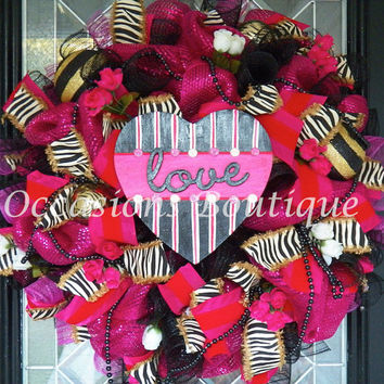 XL Valentine's Wreath, Valentine's Day Decoration, Heart Wreath, Front door wreaths, Wreath for door, Whimsical Wreaths, Ready to Ship