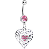 Pink Gem Layered Love Dual Heart Dangle Belly Ring | Body Candy Body Jewelry