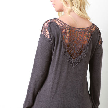 Crochet Lace Back Long Sleeve Sweater